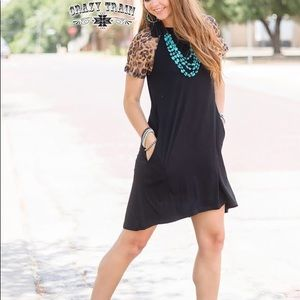 Black Leopard Lace Sleeve Dress